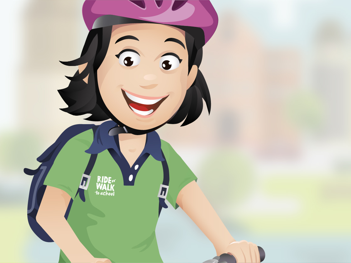 Illustration of girl riding scooter for an ACT Government Campaign